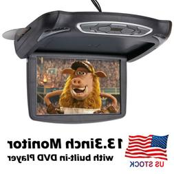 13.3 inch Car Flip Down Overhead Roof Mounted Monitor w/ Bui