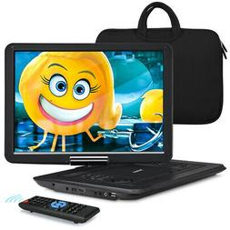 14 Inch Portable DVD CD Player Large Swivel Screen Remote Co