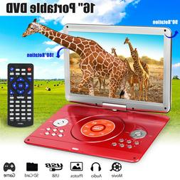 16'' Portable DVD Player Dual HD CD TV Player 16:9 LCD Wides