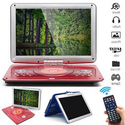 16'' Portable DVD/CD Player Car Remote Rechargeable 270° Ro