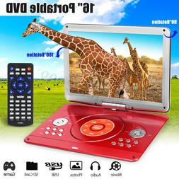 16'' Portable Rechargeable DVD Player + Remote Control 270°