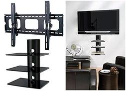 2xhome - NEW TV Wall Mount Bracket & Three Triple Shelf Pack