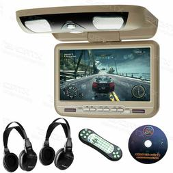 """9"""" HD Car Roof Overhead DVD Player Flip Down Monitor Game US"""
