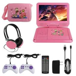 "9"" Portable DVD Player With Headphones Game Controller Carry"