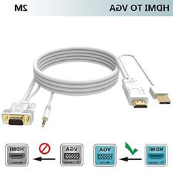 HDMI to VGA Cable with Audio 2M/6FT,FOINNEX HDMI to VGA Conv
