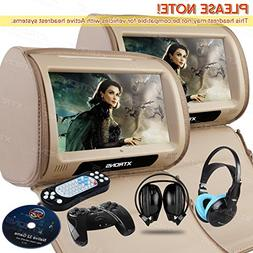 XTRONS Beige 2 X 9 Twin Car Headrest DVD Player Pillow HD To