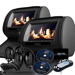 """2018 New Black Color Pair Dual 7"""" Headrest Dvd Player Monito"""