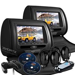 """new black vehicle 7"""" dual headrest dvd player gaming system"""