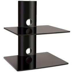 2xhome - High Gloss Black Double Shelf Wall mounted AV Compo