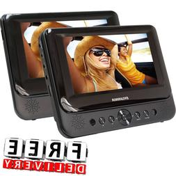 "Dual Screen Portable Car DVD Player 2Pc 7"" Headrest Black LC"