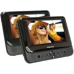 Dual Screen Portable Car DVD Player 2Pc 7inch Headrest Black