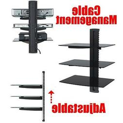 DVD Player Cable Box Wall Mount 3 Shelf Stand Direct TV Glas