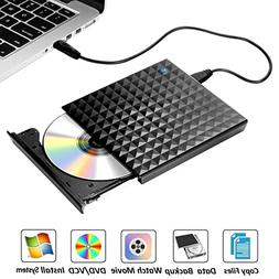 External DVD Drive for Laptop, Sibaok USB 3.0 Optical Drive,