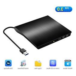 Yantop External DVD Drive, Portable USB 3.0 DVD CD Drive, Ex