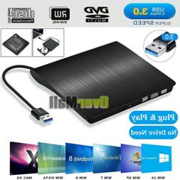 External USB 3.0 CD/DVD-RW Writer Drive Burner Reader Player