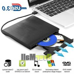 External USB 3.0 DVD RW CD Writer Slim Drive Burner Reader P