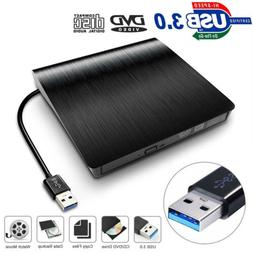 External USB3.0 DVD RW CD Writer Slim Drive Burner Reader Pl
