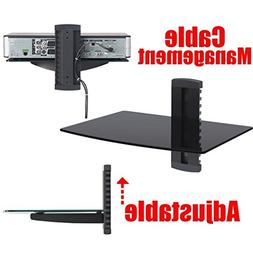 2xhome - 1x Black Floating Shelf with Strengthened Tempered