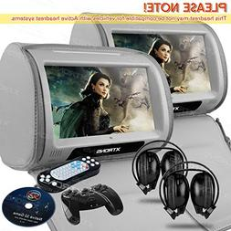 "XTRONS Grey 2X Twin Car headrest DVD player 9"" HD Touch Scre"