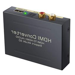 ESYNIC 4K HDMI Audio Extractor HDMI to HDMI + Optical TOSLIN