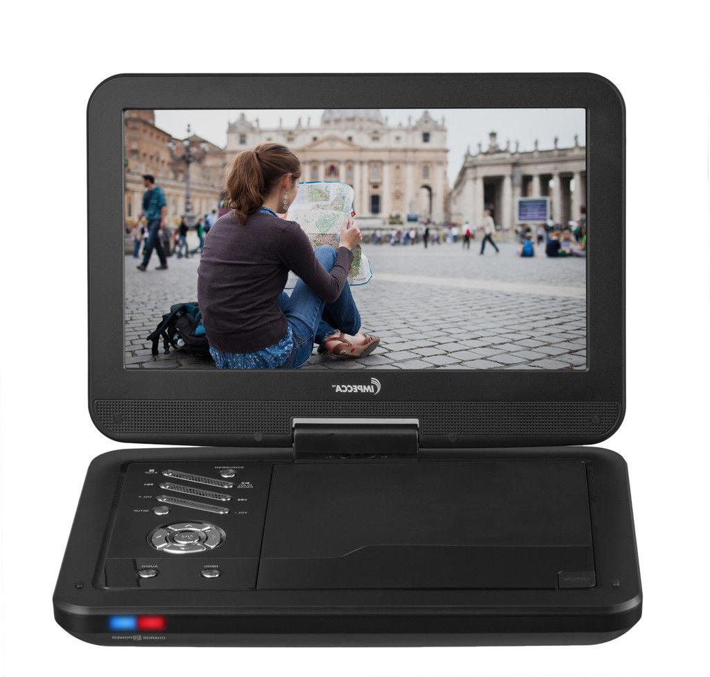 Impecca 10.1 Inch Portable DVD Player Black Swivel Up to 6 H