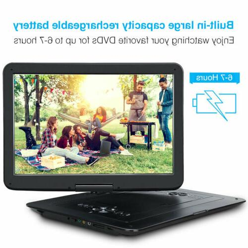 "Portable Player with 15.6"" Large Swivel Screen 1366*768 Region"