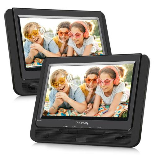 "2X9"" HD Dual TFT Screen Car Backseat Headrest Portable DVD P"
