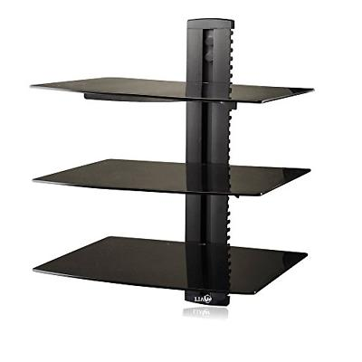 3 Floating Shelves Large Wall Mount Tempered Glass Tv Access