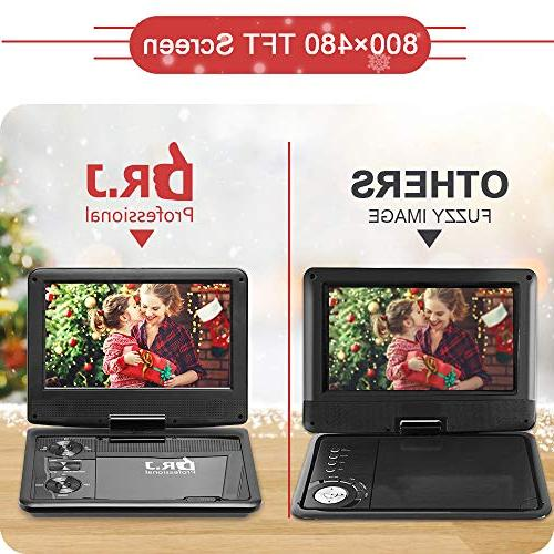 DR. J Professional 5 Hours inch Swivel Screen Portable With Built-In And Card Reader, 5.9'/1.8 m Car And Battery Adapter