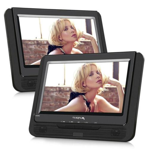"9"" Portable Car DVD Player Dual Screen for Kids Rechargeable"