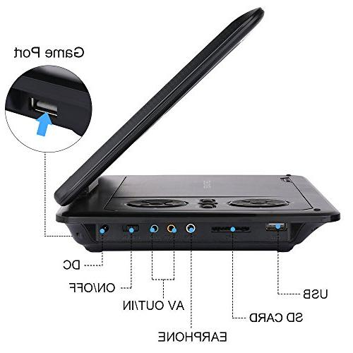 DBPOWER Portable DVD Player with Rechargeable SD Card USB Black