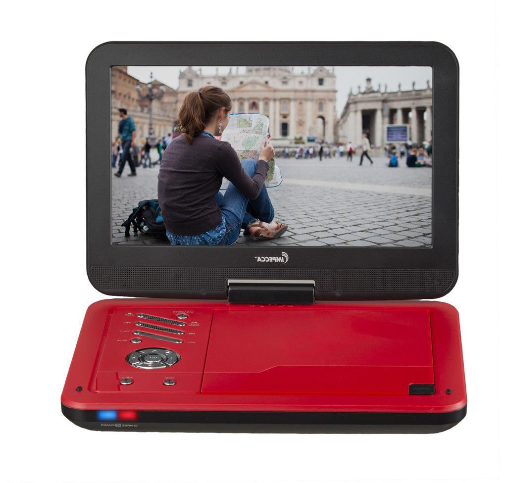 Impecca 10.1 Inch Portable DVD Player Red Swivel up to 6 Hrs
