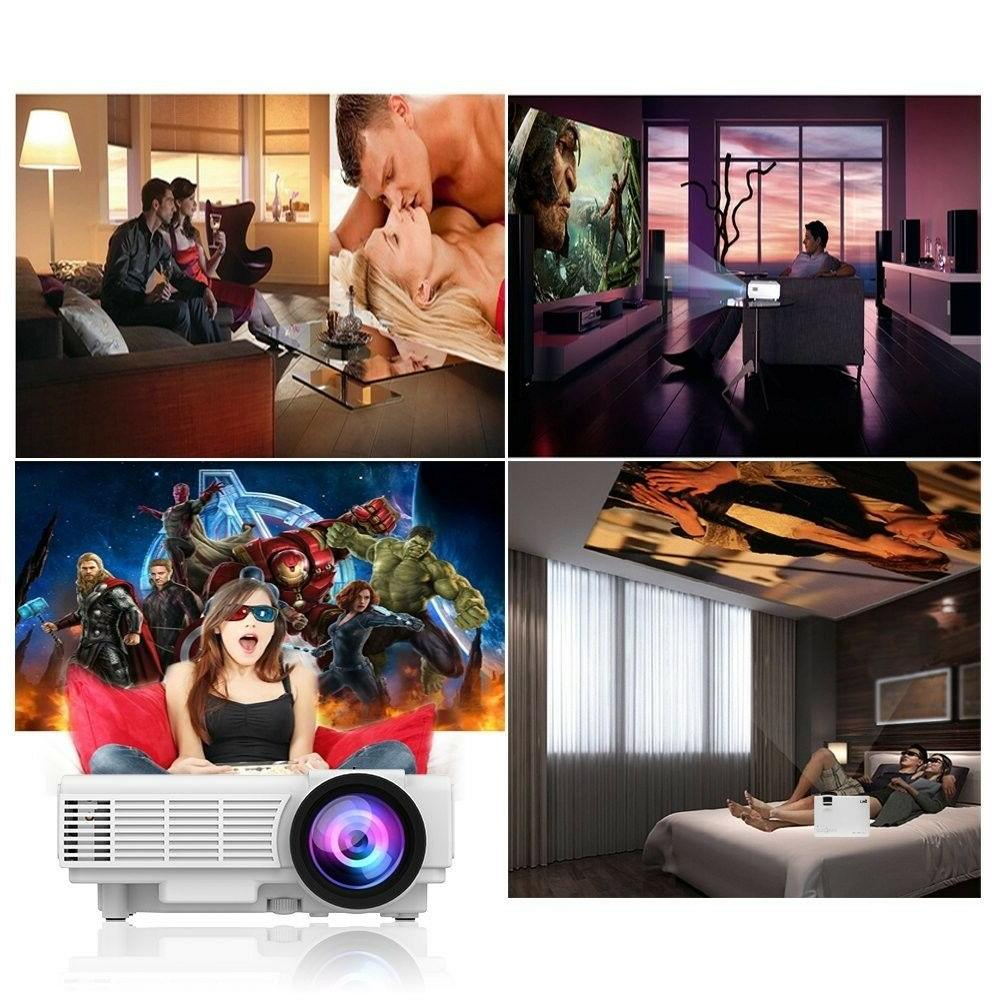"Portable LED Projector 1500 Lumens 170"" HDMI Home Theater Player"