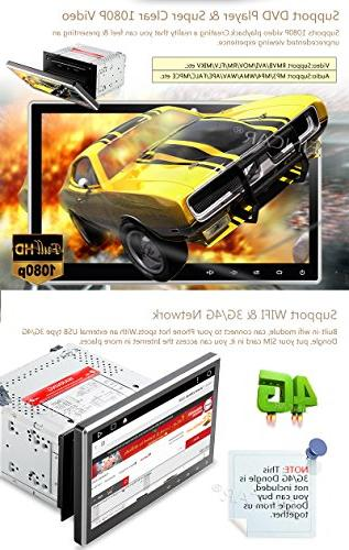 "10.1"" Upgraded Android Quad Double Car DVD/CD Player Dash Navigation with Radio Support Bluetooth Subwoofer+Free"