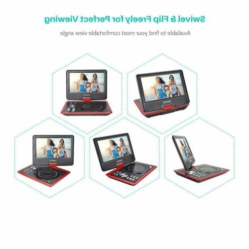 """COOAU DVD Player 9"""" Swivel 5 Rechargeable"""