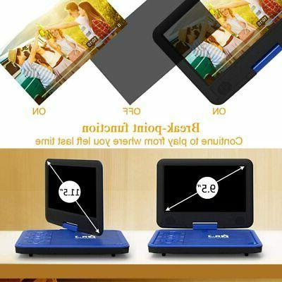 DR. J 11.5 DVD Player With 9.5 Swivel Screen, Rechargeable Battery
