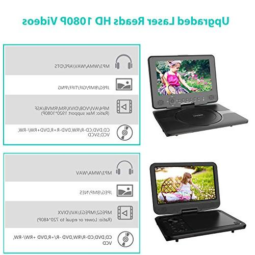 COOAU Kids Portable DVD Player Swivel Screen, 5 Rechargeable Remote Car Support TF Card/USB/Sync Screen/1080P Black