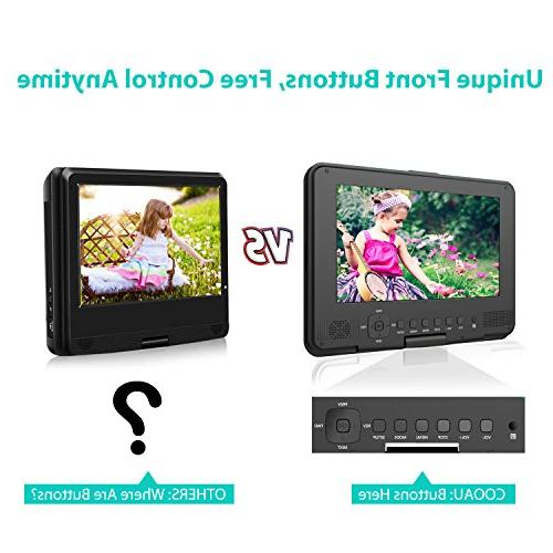 """COOAU 12"""" Portable DVD Swivel Screen, 5 Rechargeable Battery, Car Charger, Card/USB/Sync Video Black"""