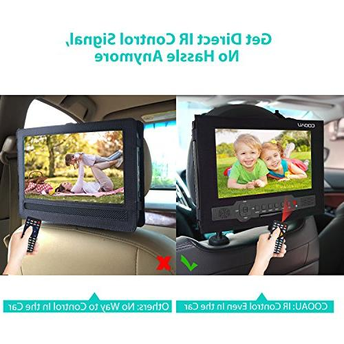 """COOAU 12"""" DVD with Swivel Rechargeable Remote Car Card/USB/Sync Screen/1080P Video Black"""