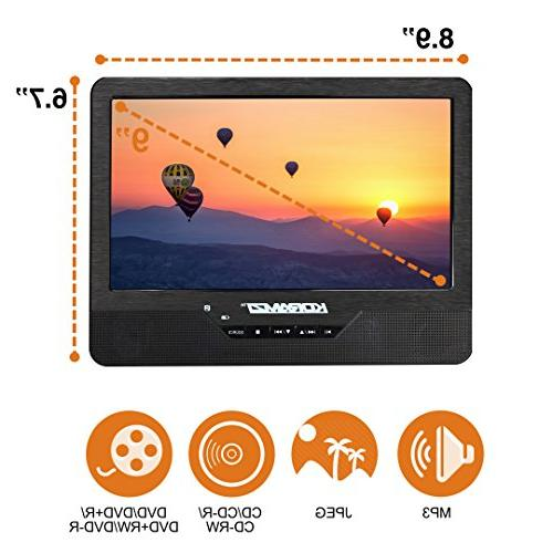 "Koramzi PDVD-DK95 Portable 9"" Dual with Battery / AV In Card / Control / / Transmitter / USB Mounting Kit"
