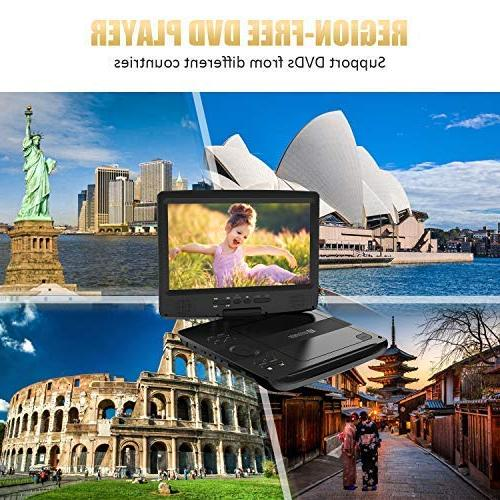 """DVD with 5 Hrs Rechargeable Battery, Design for Use Purpose, 10.5"""" Screen, Headrest Remote Control, Car USB/SD Card Reader"""