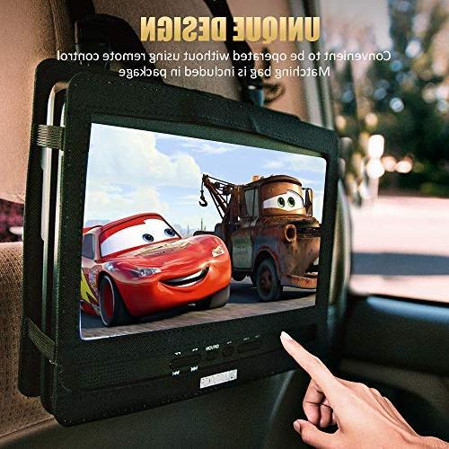 """HD JUNTUNKOR 12.5"""" DVD Player Hrs Rechargeable Unique Design for Dual Use Purpose, 10.5"""" HD Swivel Screen, Headrest Remote Control, USB/SD"""