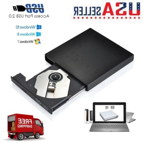 Portable USB 2.0 External CD/DVD ROM Drive Player For Laptop