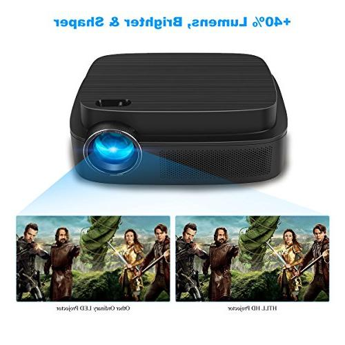 HD Home 1280x800 Native LED with 40%+ Lumens, Support AV, USB Input from Smartphone, Laptop, DVD Player