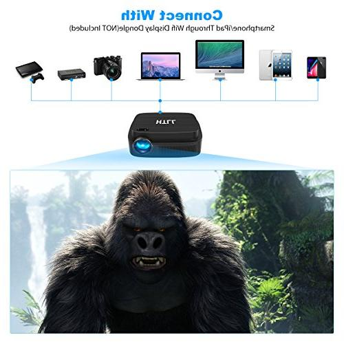 HD Video Projector, HTLL Home Theater Projector 1280x800 Native LED Projector with Lumens, HDMI, VGA, AV, USB Input from Smartphone, Player