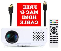 eXuby Mini Projector - Compatible with Macbook, Laptop, PC,