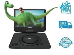 "New 9"" Black Koramzi Portable Swivel DVD Player with Recharg"