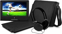 """Ematic 9"""" Portable DVD Player with Matching Headphones and B"""