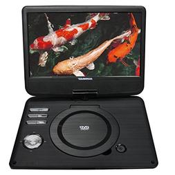 "Koramzi Portable 10"" Swivel DVD Player with Rechargeable Bat"