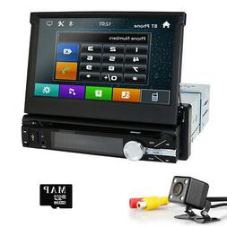 Single 1 DIN Car Stereo DVD Player In-Dash GPS Radio RDS 7""